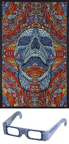 Sunshine Joy® 3D Mindful Skull Tapestry Beach Sheet Hanging Wall Art Magical Decor - 60x90 Inches - Amazing 3-D Effects Stunning 3-D visuals when tapestry is viewed through 3-D glasses. Artwork still looks amazing without the use of 3-D glasses. Features corner loops for easy hanging. Hand printed in bold, vibrant colors. Makes a great wall hanging, tablecloth, beach cover up, couch cover or wind... #Sunshine_Joy #Home