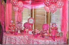 Pink Dots First Birthday Party Candy Bar Dessert Buffet