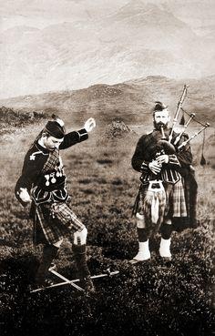 Scottish Highland Dance, Chillie Callum. Cabinet card made by J. Valentine (1815-1879)