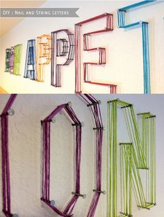 String letters on the wall...such a perfect and easy idea!