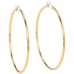 Juicy Couture Basic Large Hoop (16.955 CRC) ❤ liked on Polyvore featuring jewelry, earrings, accessories, brincos, bijoux, gold, snap button jewelry, gold tone hoop earrings, juicy couture and earring jewelry