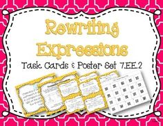 Get your students engaged with this set of 20 task cards! The set is aligned with common core standard 7.EE.2 which can be easily printed using the standard poster. Students can use the content posters to help them determine how to rewrite expressions (including percents) when solving the 20 task cards.
