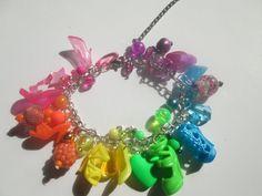 Extra full Multi tropical colored Barbie shoe bracelet / ITEM 3324