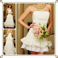 Convertible Wedding Dress : Satin Strapless with Layers of Ruffles A-Line 2-in-1 Wedding Gown on http://www.weddingyuki.com/2015/02/modern-wedding-dress-convertible-wedding-dress-two-in-one-wedding-dress.html