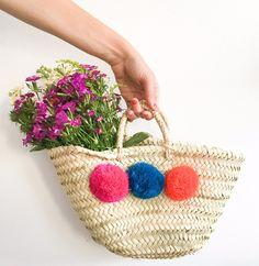 bohemia design, Market Pom Pom basket FUCHSIA / BLUE / ORANGE - Sunday in color