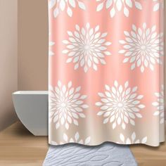 Extra-Wide Medina Floral Shower Curtain in Coral/White - BedBathandBeyond.com I want to get this!
