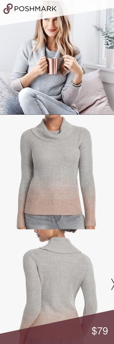 🎉❤️Host Pick❤️🎉 WHBM ombré sweater White House black market silver ombré sweater.  New with tags White House Black Market Sweaters Cowl & Turtlenecks