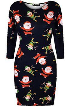 82774b5463a346 Be Jealous Damen Weihnachten Rentier Santa Olaf Schneemann Damen Rot Nase  Schneeflocken Midi Bodycon Kleid - Santa und Elfen Marineblau