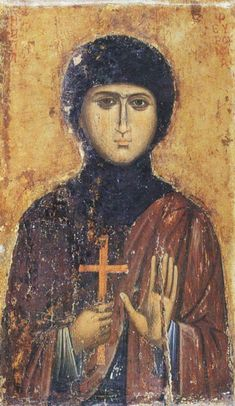 Fevronia the Righteous Virgin Martyr of Nisibis, the Much-suffering / Αγία Φεβρωνία Byzantine Icons, Byzantine Art, Religious Icons, Religious Art, Romanesque Art, Orthodox Icons, Baby Art, Sacred Art, Christian Art