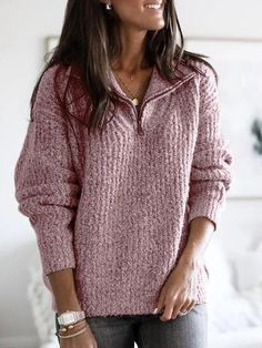 lightinthebox / Mulheres Sólido Manga Longa Pulôver Camisola Jumper, Decote V Cinza Claro / Rosa / Cinzento S / M / L Casual Sweaters, Casual Tops, Sweaters For Women, Winter Sweaters, Plus Size Sweaters, Cardigan Long, Long Sleeve Sweater, Fleece Pullover, Pullover Sweaters