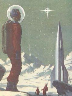 astounding science fiction vintage illustration 1956