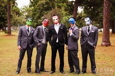 quirky avengers groomsmen, grey black white tuxes