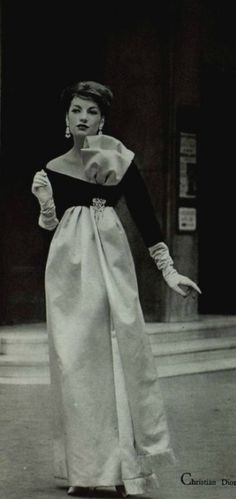 cool 1958 - Yves Saint Laurent for Christian Dior  evening gown...