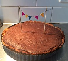 Salted caramel, chocolate brownie tart with tart bunting. Recipe up now!