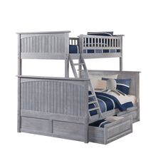 Atlantic Furniture Nantucket Driftwood Washed Grey Twin over Full Bunk Bed with Raised Panel Drawers (Size)
