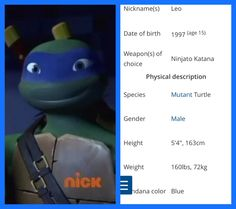 WAIT WHAT!me and leo are the same height, have the same eye color, and both like katana blades? What what and surprisingly he's not my favorite turtle but he is growing on me Ninja Turtles Art, Teenage Mutant Ninja Turtles, Ninja Turtle Pumpkin, Tmnt Leo, Leonardo Tmnt, Tmnt 2012, Nickelodeon, Turtle Birthday, Dc Movies