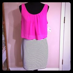 Beautiful Dress  This dress is adorable! The pink top is attached to the black/white stripped skirt!  Perfect for summer! Brand new, never worn! This dress is absolutely gorgeous! The back detail is incredible, the way the top fits and the cut out between the skirt and the top - perfection!  BONGO Dresses Mini