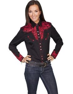 cbcc9462 Scully Western Shirt Womens Long Sleeve Snap Floral XXL Crimson PL-654,  Women's,