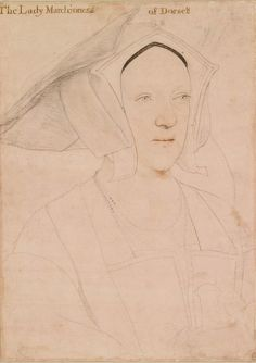 Margaret, Marchioness of Dorset (d. in or after 1535) ~ Hans Holbein the Younger... one detail in all of these portraits of courtiers which Holbein never failed to include: the transparent and somewhat eerie lightness of their blue, green, or grey eyes...