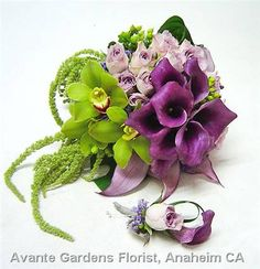 Photos : Avante Gardens Florist Custom Floral Design Gallery - Anaheim, CA : Purple and Green Wedding Bouquet
