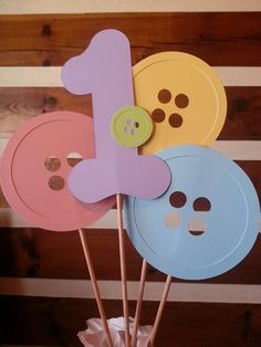 Cute as a button birthday party centerpiece turning 1 one!! by Kirascollection on Etsy