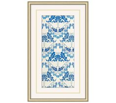 These floral artworks in various blue hues and white have a romantic art deco appeal. The white top mat is detailed with a double gold-leaf line, called a French line, that is hand applied by an artisan and echoes the fine lines in the art. Pottery Barn Wall Art, Floral Artwork, Autumn Leaves, Decorative Pillows, Art Deco, Design Inspiration, Framed Prints, Romantic, Artworks
