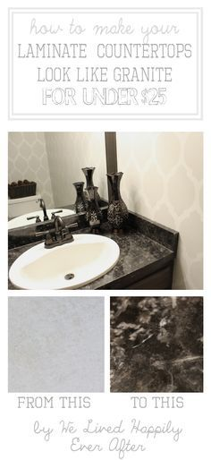 We Lived Happily Ever After: Transform Your Laminate Counter Tops to a Faux Granite for under $25 #refinish #bathroom #counter