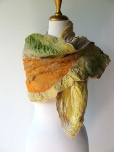 Nuno Felted Silk Scarf  Earth in Golden Beige by realfaery on Etsy, $65.00  My new favorite scarf?