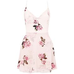 Ariana Grande For Lipsy Rose Print Layered Skater Dress (£25) ❤ liked on Polyvore featuring dresses, vestidos, rose print dress, nude dress, slip dress, floral dresses and pink skater dress