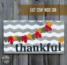 Easy Thankful Sign #wood sign #painted #thanksgiving #sign #thankful #chevron sign #fall #shapetape #frogtape