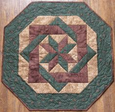 Quilted Table Topper Brown Green Pine Cones Quilt by HollysHutch