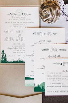 So adorable! Modern wedding invitation suite with green and kraft details #wedding #weddinginvite #woodland #rustic #invitations