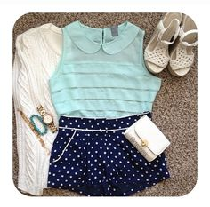 A cute pair of dressy navy blue polka dot shorts with a nice collared mint green shirt