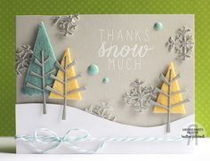 Card by Heather Pulvirenti. Reverse Confetti stamp set: Seasonal Sentiments. Confetti Cuts: Branch Out and Let It Snow. Christmas card. Winter card.