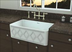 Whitehaus Collection Traditional Kitchen Design, Stone Cuntertop, Brushed Nickel Faucet