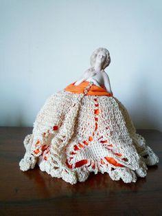 Antique Porcelain Pin Cushion Doll Half Doll #pinCushionDoll #antiqueDoll #halfDoll #dresserDoll #vintageDoll #valentinesDayGift