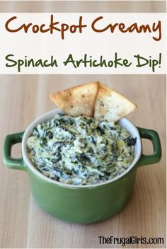 Crockpot Creamy Spinach Artichoke Dip Recipe! ~ from TheFrugalGirls.com ~ the perfect easy Slow Cooker appetizer for your Thanksgiving and Christmas parties!
