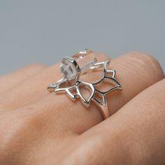 Everlasting Lotus Clear Quartz Ring by Midsummer Star Online Shopping Australia, Quartz Ring, Clear Quartz, Lotus, Silver Rings, Fashion Jewelry, Jewellery, Engagement, Star