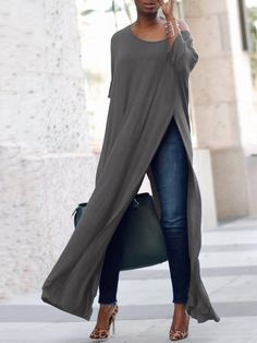 Stylish Solid High Slit Casual Blouse (S - Diy Crafts - hadido Casual Chic, Casual Wear, Casual Outfits, Smart Casual, Casual Tops, Look Fashion, Womens Fashion, Fashion Design, Fashion Trends