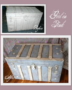 Painted wood & metal trunk with Chalk Paint® (Paris Grey & Old Ochre) by One Girl In Pink