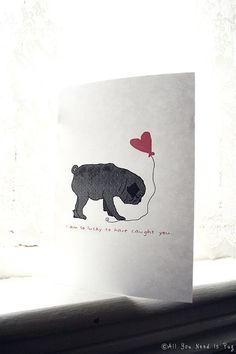 Black Pug In Love Card Customizable With by AllYouNeedIsPugShop