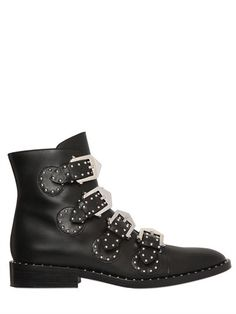 GIVENCHY - 20MM PRUE STUDDED LEATHER ANKLE BOOTS - LUISAVIAROMA - LUXURY SHOPPING WORLDWIDE SHIPPING - FLORENCE
