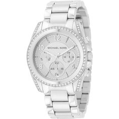 Michael Kors Woman's MK5165 Chronograph White Crystal Stainless Steel... ($219) ❤ liked on Polyvore featuring jewelry, watches, silver, analog watches, chronograph watch, diamond dial watches, michael kors watches and analog chronograph watch