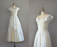 40s dress / 1940s long dress / A Waking Dream dress by DearGolden, $185.00