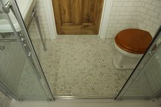 Modern Country Style: Our Gorgeous Hexagonal Marble Mosaic Floor  Click through for details.