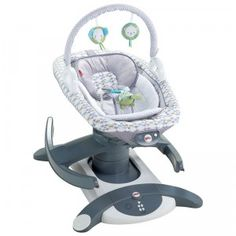 The 4-in-1 Rock 'n Glide Soother is a portable glider and rocker for a baby up to 25 pounds.