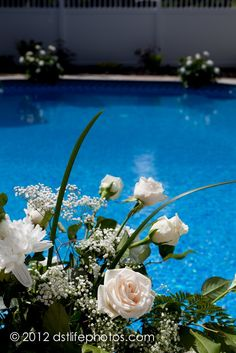 White and green arrangement, white roses, poolside wedding. White Roses, Floral Arrangements, Florals, Floral Design, Wedding Inspiration, Wreaths, Table Decorations, Weddings, Elegant