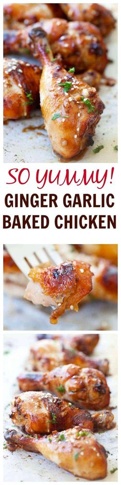 SUPER YUMMY ginger garlic baked chicken marinated with ginger, garlic, soy sauce and honey. EASY and delicious recipe that anyone can make at home | rasamalaysia.com Baked Chicken Recipes, Turkey Recipes, Dinner Recipes, Recipe Chicken, I Love Food, Good Food, Yummy Food, Tasty, Asian Recipes