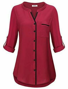 Henley Tunic Shirts for Women to Wear with Sleeve Simple Style Casual V Neck Button Down Plain Tops Fitted Tshirt Knit Basic Jersey Lady Modern Peplum Blouse Prime Club Wear Black MBestseller AxByCzD Damen Manschette Henley V-Ausschnitt Chiffon Tunik Tunic Blouse, Shirt Blouses, Tunic Tops, Shirts, Blouse Styles, Blouse Designs, Chiffon Tops, Fashion Dresses, Clothes For Women