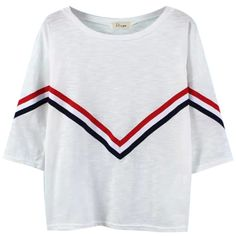 Chicnova Fashion Stripes Raglan Sleeves T-shirt ($18) ❤ liked on Polyvore featuring tops, t-shirts, tees, blusas, shirts, stripe shirt, raglan sleeve shirts, striped tee, raglan shirts and striped top